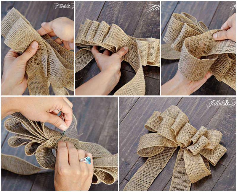 Бант из ленты для упаковки своими руками