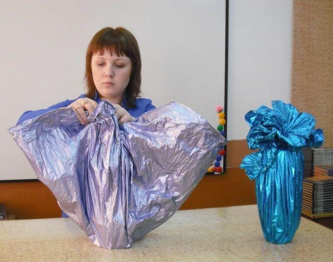 Как сделать бант на бутылку из ткани