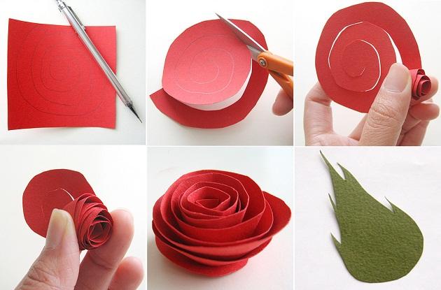 Делаем из бумаги розу