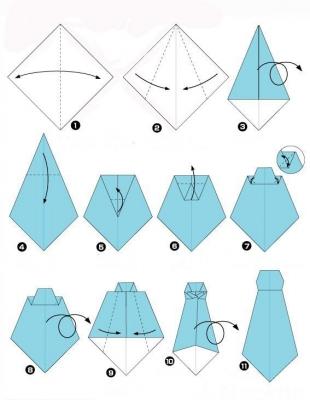 схема оригами галстук