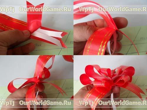 Как сделать красивый бантик из ленты для подарка