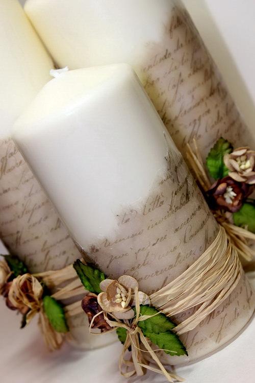 Новогоднее оформление свечей своими руками