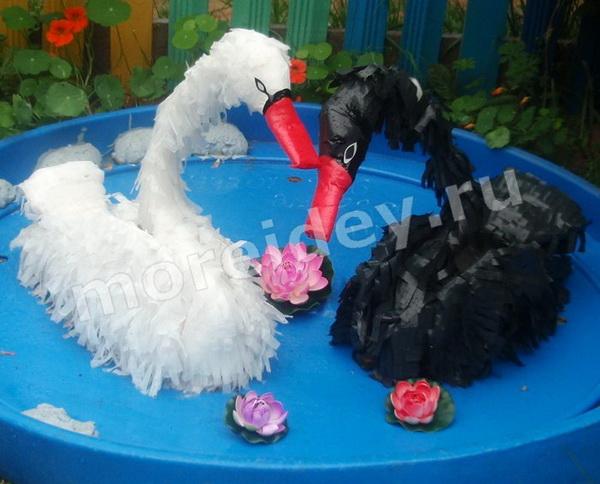 Лебедь из целлофановых пакетов своими руками
