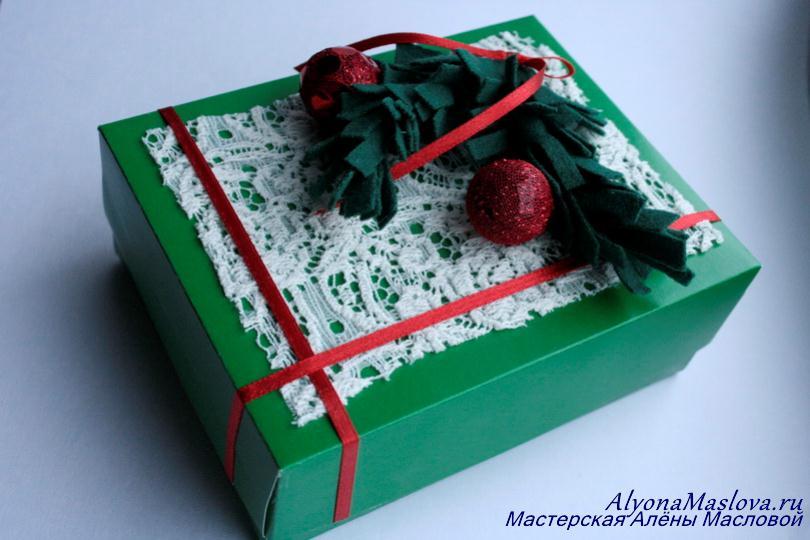 Новогодняя коробка своими руками фото