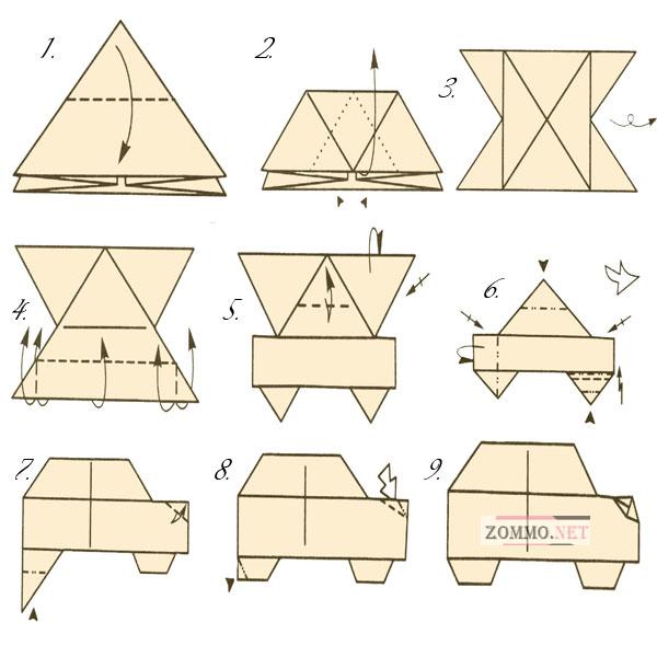 Оригами из бумаги машина