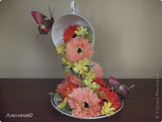 Кружка и блюдце с цветами поделка