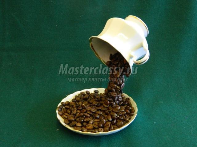 Парящая чашка с кофе пошагово