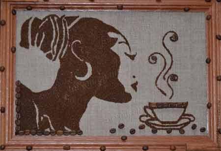 Картины из кофейных зерен своими руками на кухню