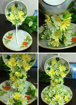 Цветы из кружков своими руками