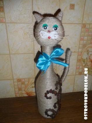 Котик из кофейных зерен своими руками