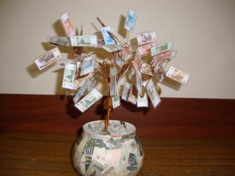 Денежное дерево из бумажных денег как сделать своими руками