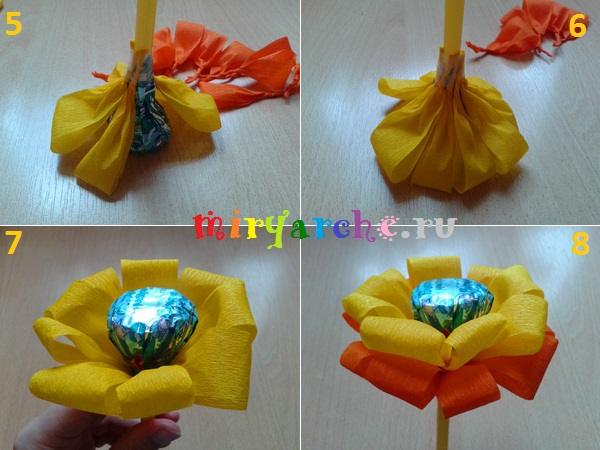 Поделки из гофрированной бумаги цветы с конфеты