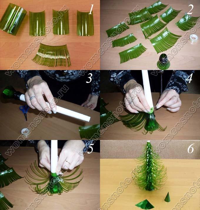 Как сделать своими руками елочку из бутылки