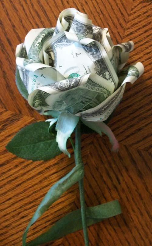 Как сделать цветок из денег своими руками фото