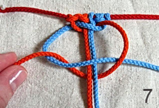образуют квадратный узел.