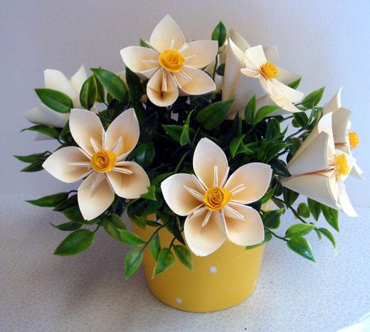 Цветы из бумажных лент своими руками фото
