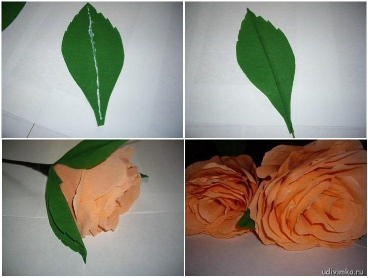 Листья роз из бумаги своими руками