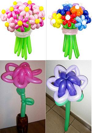Как самому сделать цветы из воздушных шариков