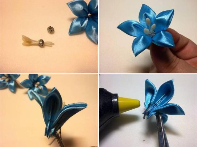 Как сделать цветок канзаши из атласной ленты своими руками