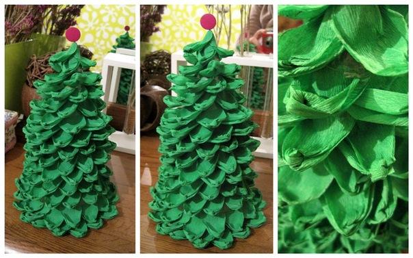 Поделка елка из гофрированной бумаги на новый год своими руками