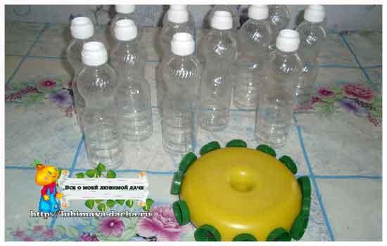Поделка из пластиковых бутылок солнышко 49