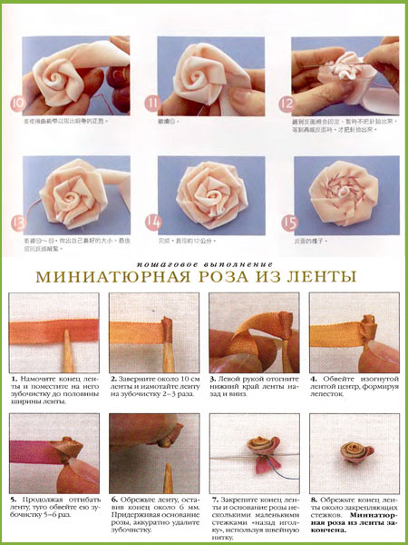 Роза из лент 2.5 см своими руками