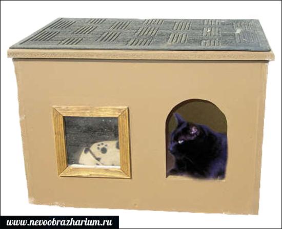 Как сделать кошке домик из коробки схема