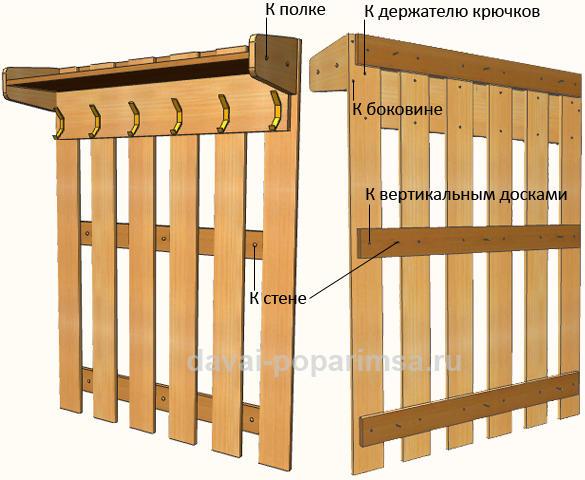Деревянная настенная вешалка в прихожую своими руками