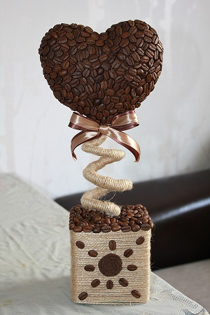 Топиарии из зёрен кофе своими руками