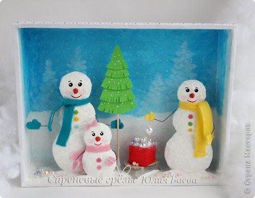 Как сделать снеговика на картоне из ваты