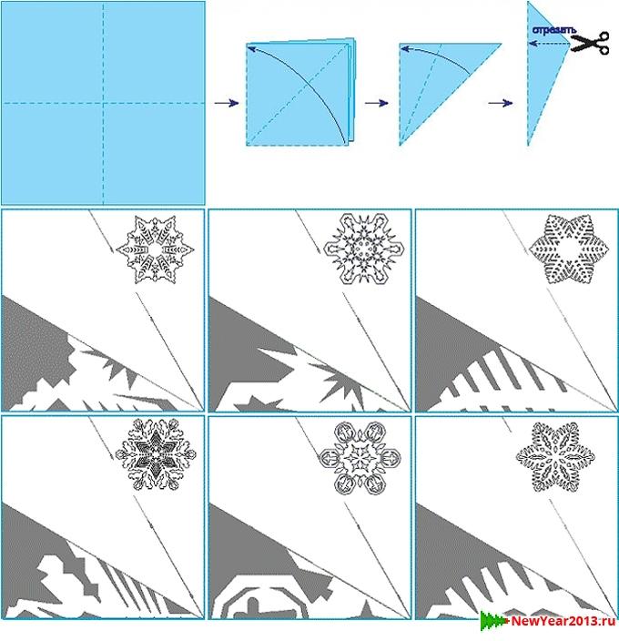 Схемы из бумаги снежинок